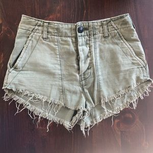 Free People High Rise Button Front Cut-Offs
